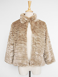 Nice 3/4 Sleeve Standing Collar Faux Fur Casual/Party Jacket (More Colors)