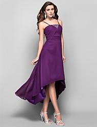 Uma linha princesa espaguete tiras chá comprimento vestido de baile de chiffon assimétrico com cristal por ts couture®