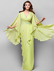 Formal Evening/Military Ball Dress - Lime Green Plus Sizes Sheath/Column V-neck Floor-length Chiffon