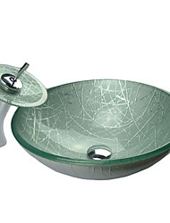Contemporary Round Tempered Glass Bathroom Sink Set (with Waterfall Faucet, Mounting Ring and Water Drain)