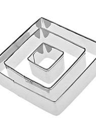 Forma cuadrada de acero inoxidable galleta Cortadores de ajuste (3-Pack)