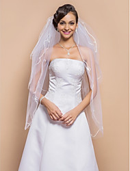 Wedding Veil Three-tier Fingertip Veils Ribbon Edge 39.37 in (100cm) Tulle WhiteA-line, Ball Gown, Princess, Sheath/ Column, Trumpet/