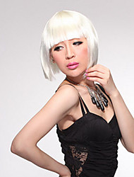 Capless Short Bob High Quality Synthetic White Straight Hair Wig