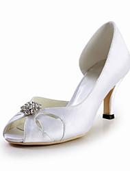 Elegante de cetim de salto alto peep toe Pumps com strass sapatos de casamento (mais cores)