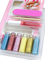 9PCS Twinkled Powder Nail Art Decorations Suit