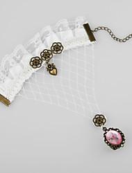 Elegant White Lace Sweet Lolita Ring Armband met Mooie Hart