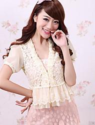 Women's Lace Beige/Black/White Blouse Lace/Ruffle
