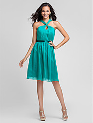 Knee-length Chiffon Bridesmaid Dress - Jade Plus Sizes A-line/Princess Straps