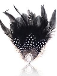 Lureme®Vintage Alloy Fan Pattern Pearl Feather Brooch