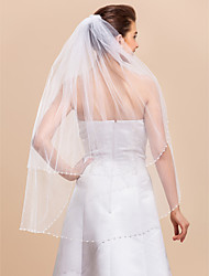 Two-tier Fingertip Wedding Veil With Pearl Edge