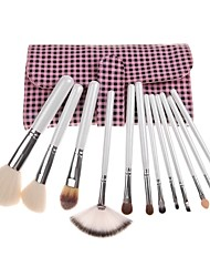 12PCS White Handle Cosmetic Brush Set With Free Grid Pink Pouch