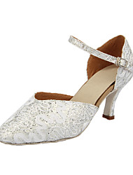 Customizable Women's Dance Shoes Modern Sparkling Glitter Customized Heel Silver