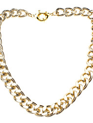 Gold-tone Link Chain Chunky Curb Punk Choker Necklace with Spring ring Clasp