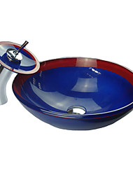 Contemporary Red and Blue Tempered Glass Bathroom Sink Set (with Waterfall Faucet, Mounting Ring and Water Drain)