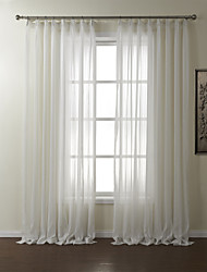 TWOPAGES® Two Panels  Stripe Polyester Jacquard Sheer Curtain