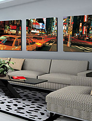 Stretched Canvas Art Landscape City Street Set of 3