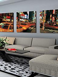 Stretched Canvas Art Landscape City Street Set of 3