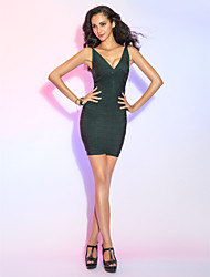 Cocktail Party Dress - Dark Green Sheath/Column V-neck Short/Mini Rayon