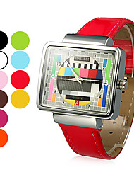 Women's TV Pattern Square Case PU Band Quartz Wrist Watch (Assorted Colors)