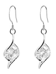 Lovely Platinum Plated Irregular Cubic Zirconia Earrings