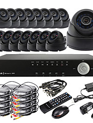 Ultra DIY 16CH D1 em tempo real H.264 CCTV DVR Kit (16pcs 420TVL Night Vision CMOS Dome)