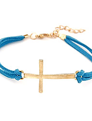 Unique Metal Cross Leather Bracelet Anklet(Random Colors)