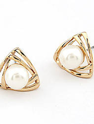Gold Plated Alloy Pearl Triangle Pattern Earrings