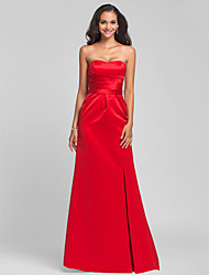 Lanting Sweep/Brush Train Satin Bridesmaid Dress - Ruby Plus Sizes / Petite Sheath/Column Sweetheart / Strapless
