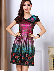 Women's V-Neck Dresses , Polyester YEMEN ROSE