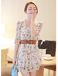 Women's Going out Cute Skater Dress,Floral Round Neck Above Knee ½ Length Sleeve Red / Green Summer