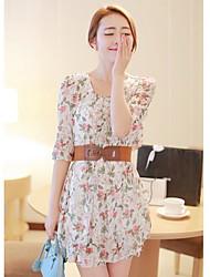 Шифон цветочные женщин печати Midi рукава платья