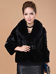 3/4 Sleeve Shawl Mink Fur & Rex Rabbit Fur Casual/Party Jacket (More Colors)