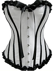 White and Black Satin Princess Lolita Corset With Ribbon