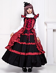 Sleeveless Floor Length Red and Black Cotton Gothic Lolita Dress