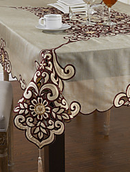 "50""x69"" Classic Organza Lazer cut Burgundy Floral Table Cloths"