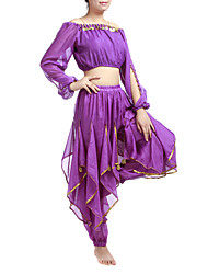 Performance Dancewear Chiffon With Beading And Coins Belly Dance Outfits For Ladies(More Colors)
