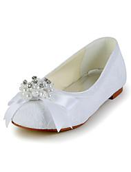 Pretty Lace Heel piatto chiuso le dita dei piedi con bowknot Appartamenti e perla d'imitazione Flower Girls Shoes (altri colori)