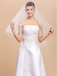 Wedding Veil One-tier Elbow Veils Cut Edge 59.06 in (150cm) Tulle White A-line, Ball Gown, Princess, Sheath/ Column, Trumpet/ Mermaid