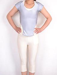 Gray and Ivory Spandex Nylon Exercício Suit