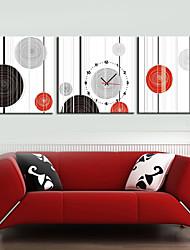 estilo moderno geometria relógio de parede em tela 3pcs