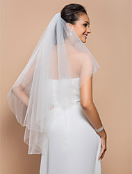 Wedding Veil Two-tier Elbow Veils Beaded Edge 37.4 in (95cm) Tulle White A-line, Ball Gown, Princess, Sheath/ Column, Trumpet/ Mermaid