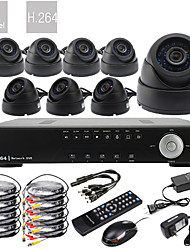 Ultra 8CH D1 Realtime H.264 High Definition CCTV DVR Kit (8 stuks 600 TV lijnen Dag Nacht Dome CMOS camera's)