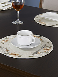 Set of 6 Placemats Grey Polyester Floral