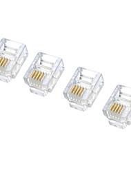 RJ11 6P4C fiche modulaire téléphoniques Connecteurs - Blanc (100 pièces Pack) 05030028M