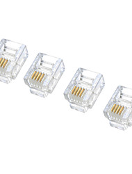 RJ11 6P4C Modular Plug Telephone Connectors - White (100-Piece Pack)  05030028M