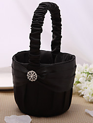 Nice Flower Basket In Black Satin With Rhinestone Flower Girl Basket