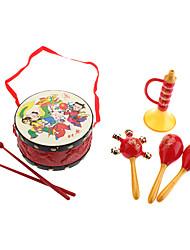 Tambor Tradicional Chinesa, Rattle, Buzina Pack para Crianças