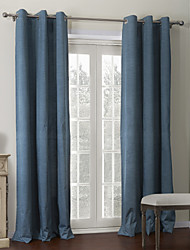 Modern Two Panels Solid Blue Living Room Polyester Panel Curtains Drapes