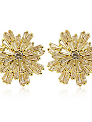 Gold Plated Flower Design Cubic Zirconia Earrings