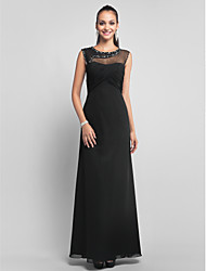Formal Evening/Prom/Military Ball Dress - Black Plus Sizes Sheath/Column Jewel Floor-length Chiffon/Tulle